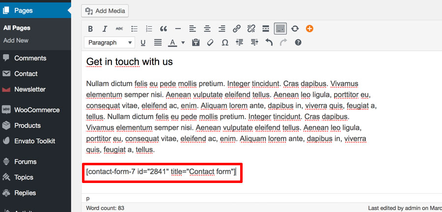 Shortcode from Contact Form 7