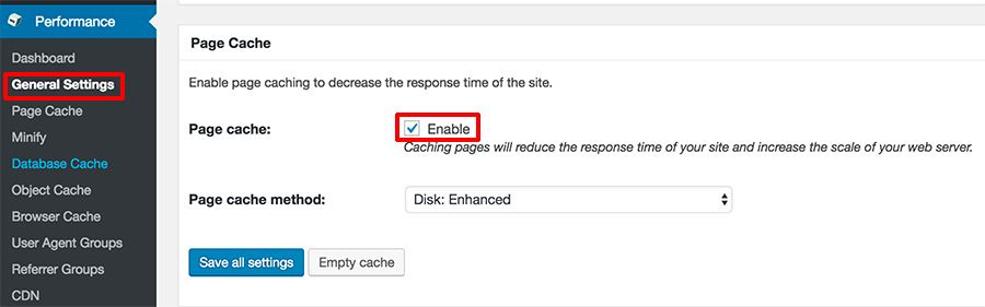 W3 Total Cache - page cache enabled